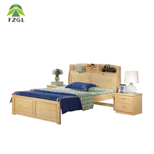 Pine Wood Double Bed High quality Bedroom Double Bed Furniture