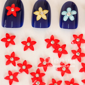 factory wholesale 10mm siam color flower shape resin nail art stone designs