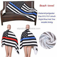 Personalized Monogrammed American USA Blue Red Line Flag Beach Towel