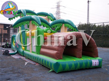 Inflatable tropical obstacle, inflatable floating obstacle course, inflatable bounce obstacle equipment factory price