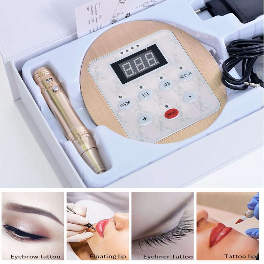 BangYa Lip Wenkbrauw Microblading Oplaadbare Draadloze Permanente Make-Up Machine met Panel
