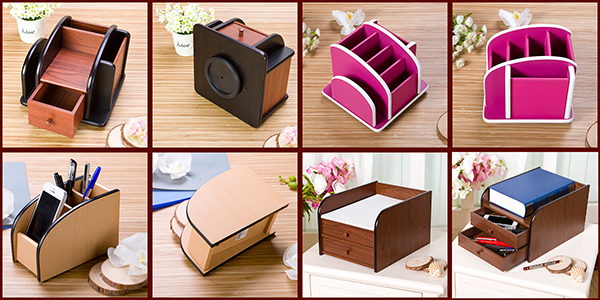 360 degree rotary wood remote control desk organizer with drawer