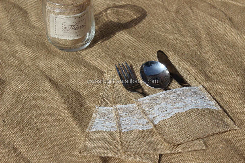 Jute Burlap with Lace Wedding Cutlery Holder Pouch Tableware Pouch