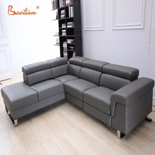 foshan factory living room furnitures top grain sectional leather sofa or fabric modern corner sofa set designs