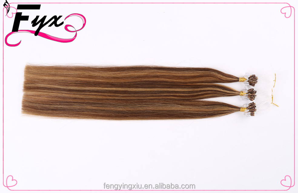 Wholesale 8A Top quality 100 Keratin Tip Human Hair Extension Best Selling Brazilian06/613#color Micro Ring Loop Hair Extensions
