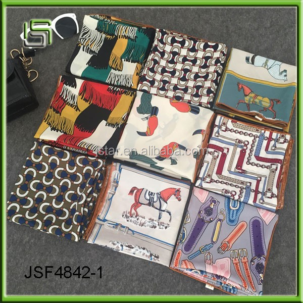 Fashionable new style square colorful silk scarf and small leather buckle scarf