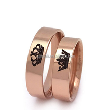 Crown King and Queen Rings, His and Hers Rose Gold Color Stainless Steel Ring, Anniversary Rings