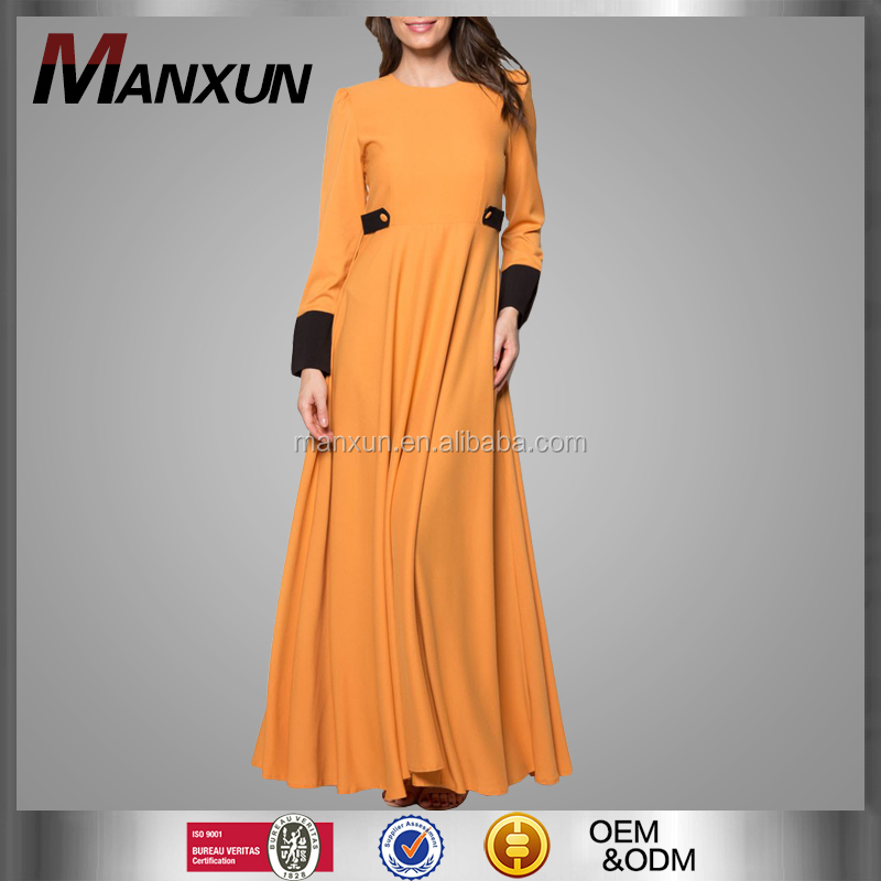 Office Lady Dress Muslim Women Dress Orange Fashion Abaya 2016 Dubai Abaya Dress Islamic Hijab