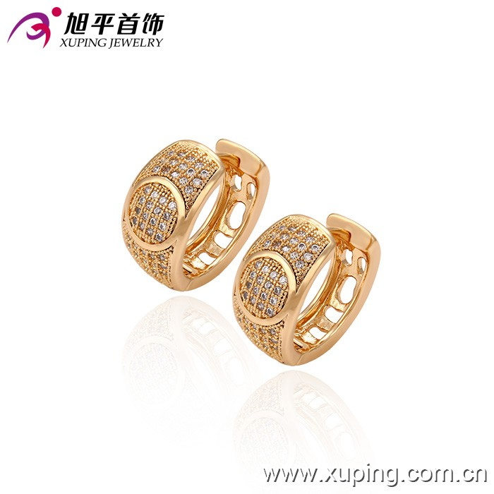 C207265-29686 Xuping Fashion 18K gold Plated Jewelry Earrings Elegant Popular Huggies earrings with Glass