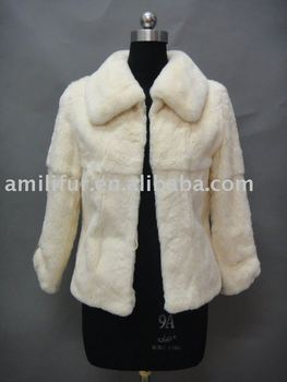 Cream Rabbit Fur Jacket With Short haired Rex Collar 2011/2012 New Fur Jacket ( Style:#B139 )