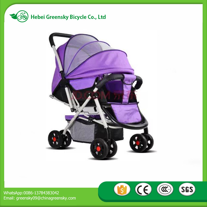 Good quality both way baby stroller 8 wheels prams infant pushchairs wide quiet EVA tyres, safety harness and adjustable canopy