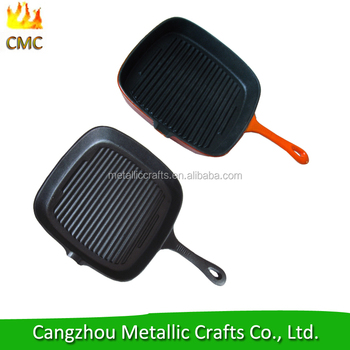 "10"" pre - seasoned square cast iron grill pan with ribbed surface"
