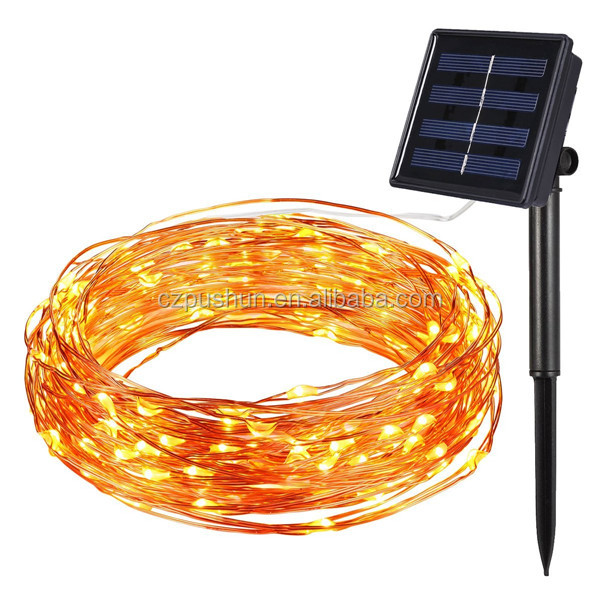 Decorative Festival Wedding Christmas Waterproof Programmable Solar LED Copper String Light