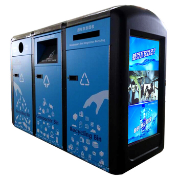 solar intelligent trash compactor with LED stainless steel dustbin pictures 1100 liter garbage bin
