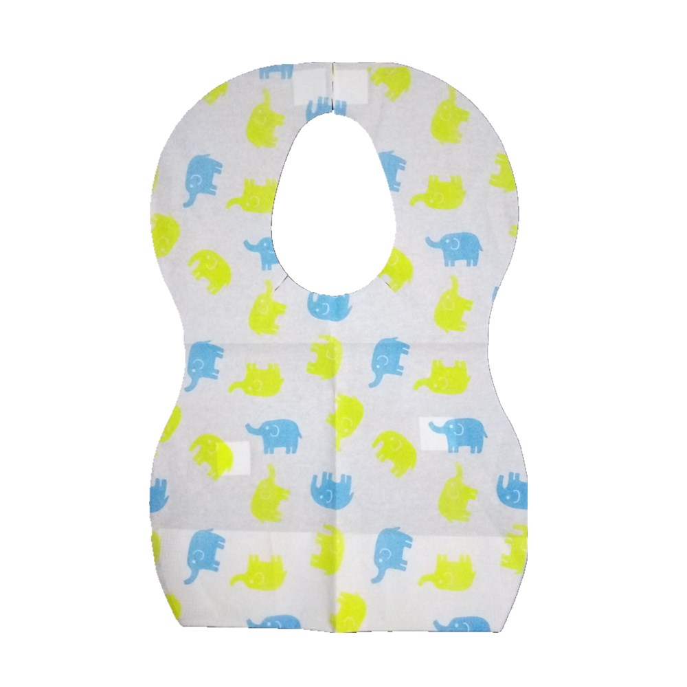 Disposable paper Bibs for Boys Girls Baby Infant Toddler 2-3 Layers Non-woven Fabric Ideal For Home Travel 10 Packs