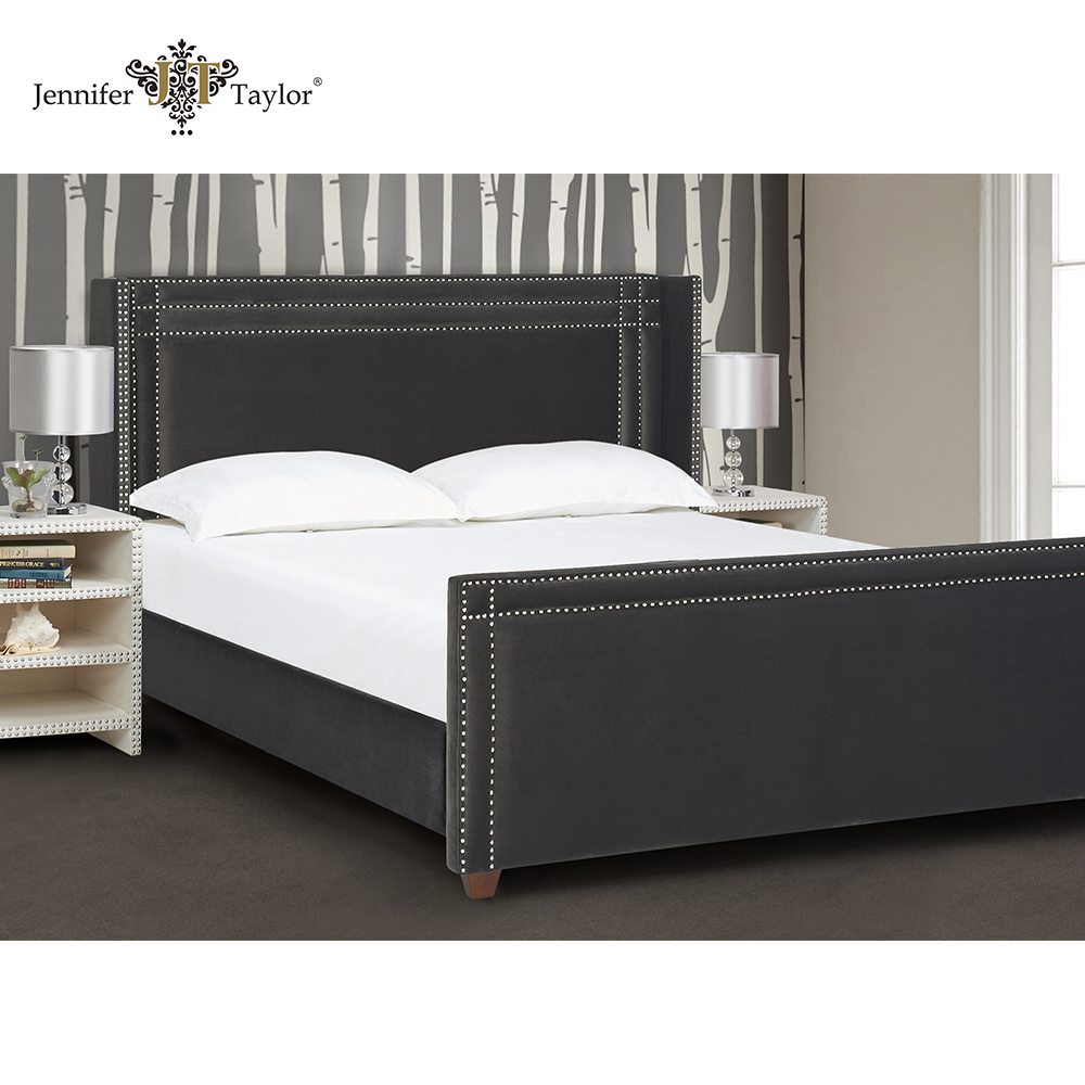 Home furniture fabric upholstered sleigh bed/king size wooden frame bedroom bed with headboard