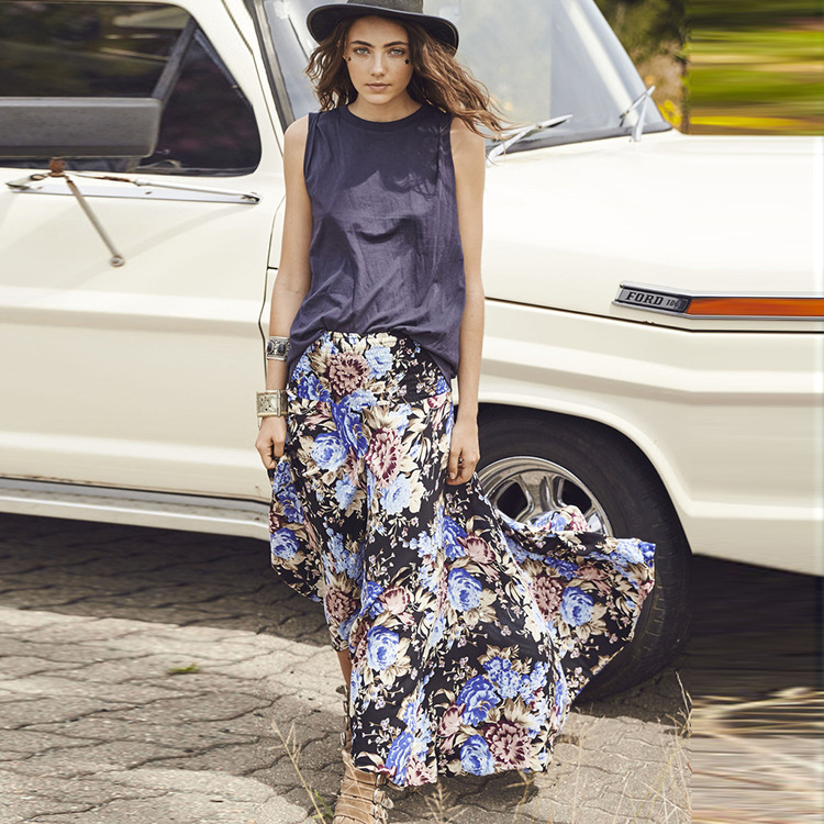 Floral boho maxi swing skirt fashion design long skirts for women