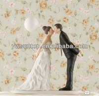 Leaning in for a kiss balloon funny wedding cake topper ceramic topper