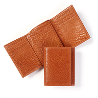 Factory direct sale italian vegetable tanned leather wallet with ID window leather wallet