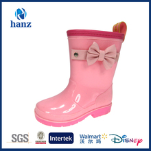 2014 Hot Sell Girl's PVC Rain Wellies Pink with Bowknot Side