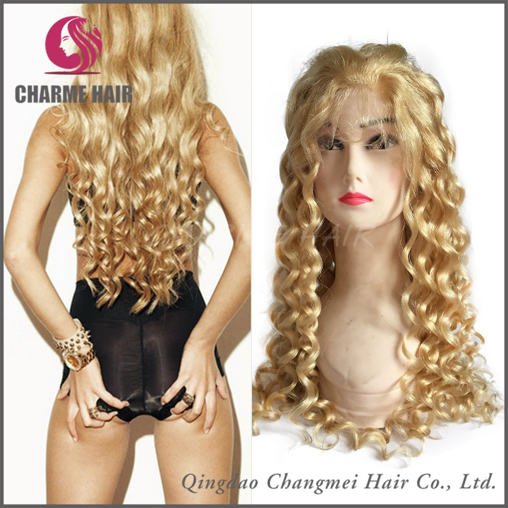 Factory Price Top Quality Blonde Color Curly Indian Virgin Human Hair Full Lace Wigs