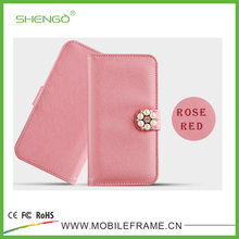 High Quality Customized Fashion Style PU Leather Wallet Flip Universal Case for 3.5''-5.5'' Case