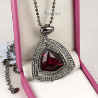 Yiwu Factory Direct Sale Gun Black Plated Dark Red Crystal Pendant Necklace for Lady Jewelry KN149