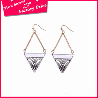 2016 hottest punk rock long earrings jewelry style zinc alloy 16k gold triangle earrings for young ladies