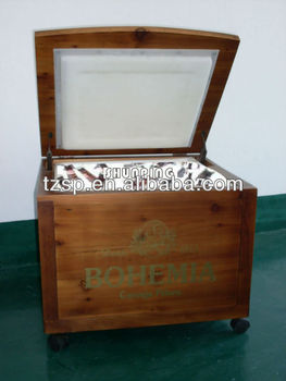 wooden ice cooler box