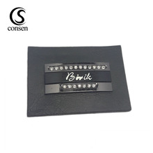 Fashion metal accessories custom brand name embossed garment leather label patch