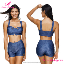 High Quality Denim Crotchless Two Piece Girls Custom Sexy Swimwear