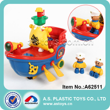 Music and light plastic electric pirate cheap small plastic toy boat
