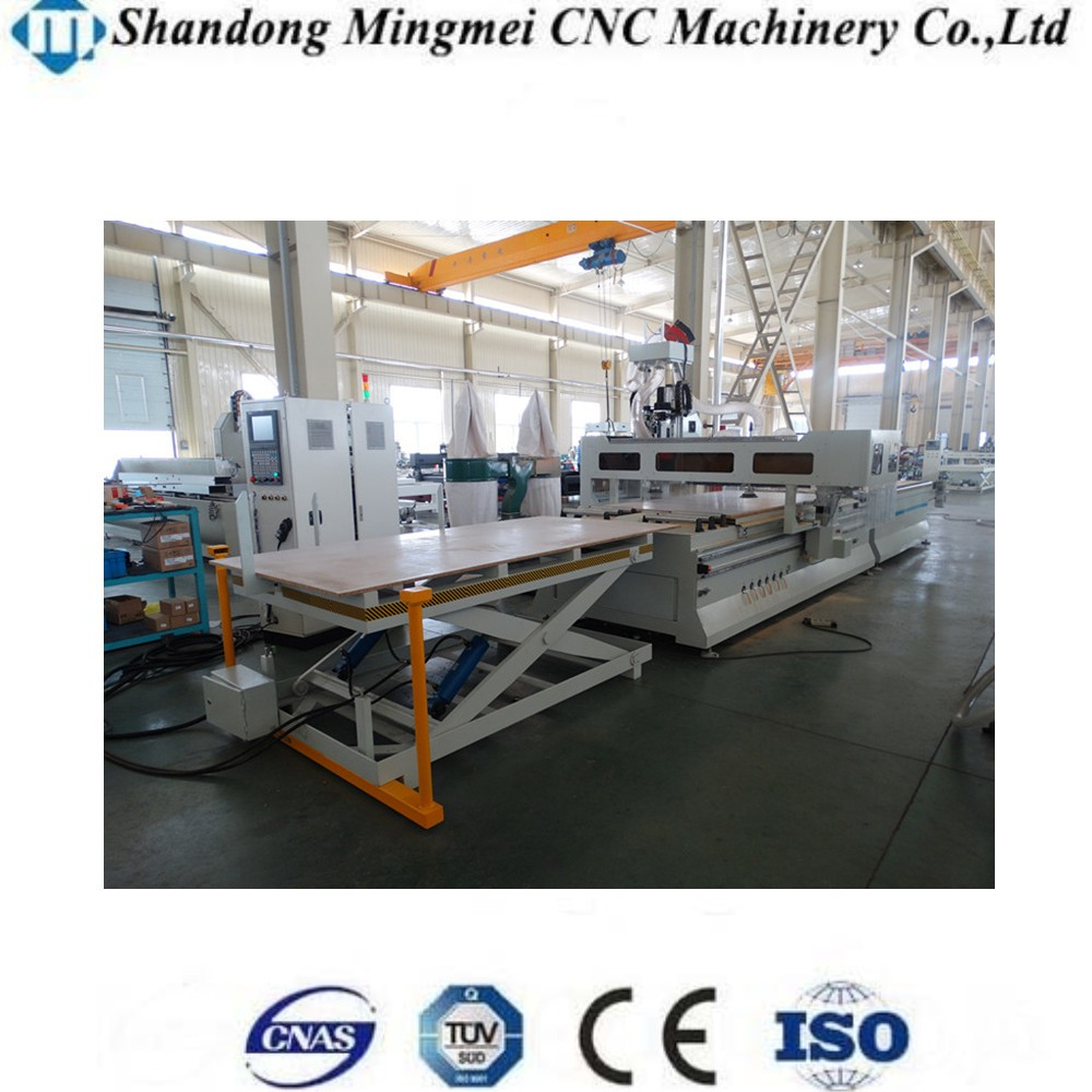 MMCNC 1325 wood customized cabinet production line with nesting software lift load unload system