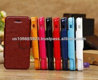 Fashion Round Button Stand Leather Case For IPHONE 5C 8 colors