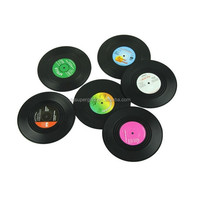 New Fashion 6pcs/Set Spinning Retro Vinyl CD Record Drinks Coasters / Vinyl Coaster Cup Mat quality first 1 set Top Voberry