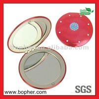 round plastic makeup mirror with led light