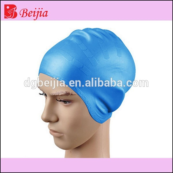 With large size pure color silicone long hair swim caps with adult with kids size