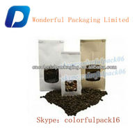 stand up foil coffe bag/waterproof laminated bag for coffee/ custom plastic coffee bag for sale
