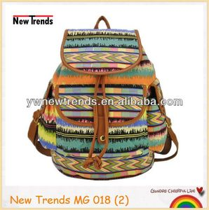 Fashion aztec printing girls canvas backpack for girls and boys