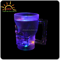 18 ounce plastic LED skull beer cup custom led flashing cup made in china