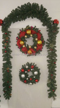 Green Plastic Christmas Wreath and Garland for Christmas Door Decoration