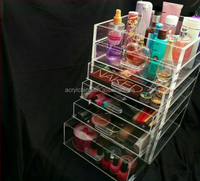 Makeup Cosmetics Jewelry Organizer Clear Acrylic 4 Drawers Display Box Storage