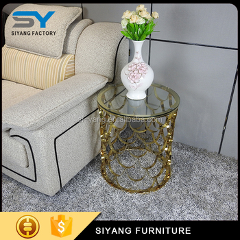 Foshan furniture living room sofa side table with gold stainless steel frame JJ001