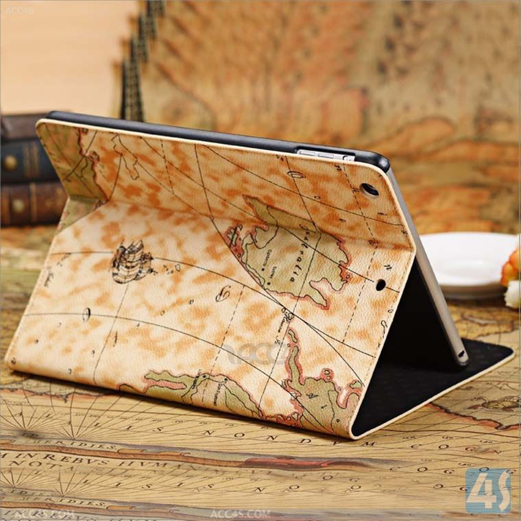 Newest Arrival Retro Style Treasure Map Folio Leather Case With Stand Protective Case for iPad Mini 2 with Retina--P-IPD5CASE039