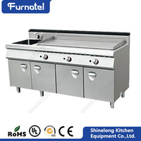 Furnotel Professional Stainless Steel Freestanding Gas Griddle With Cabinet And Sink Cooking Range