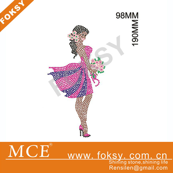 Fashion Afro Girl Rhinestone Transfers, Iron On Design for Clothing Decoration