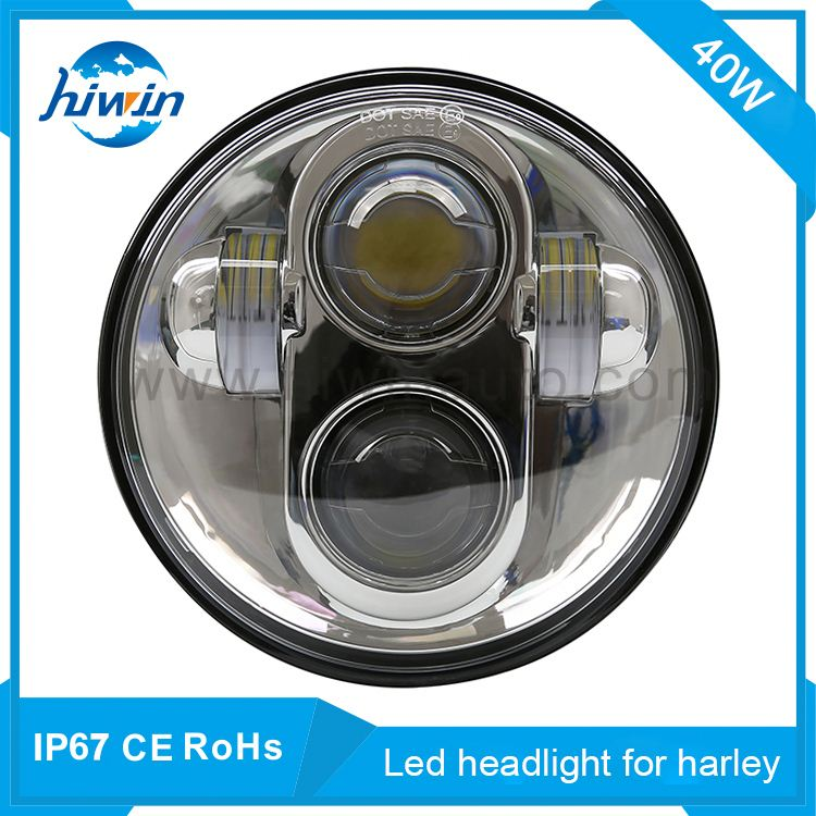 40W 5.75inch harley led headlight DC12/24V IP68 waterproof silver bezel for harley best motorcycle led driving lights