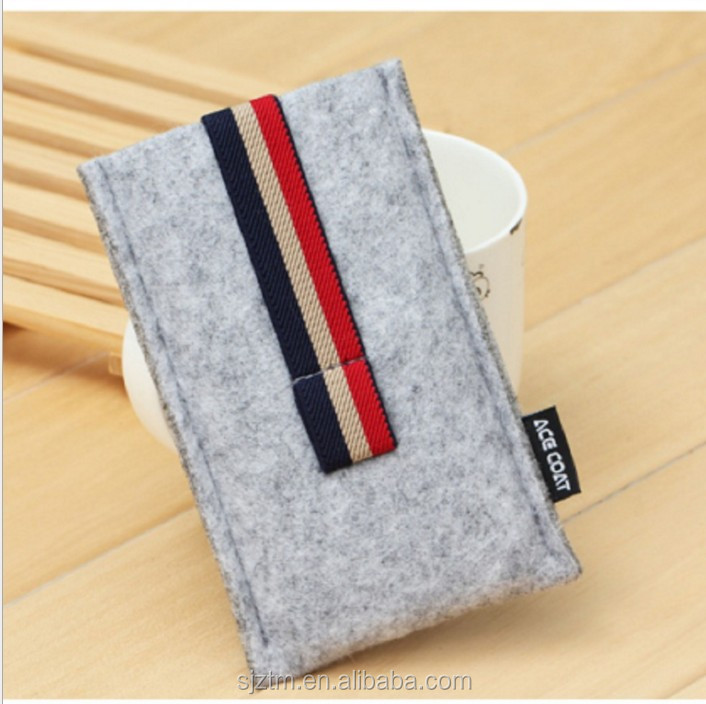 new fashion hot sale high quality felt phone cover/earphone case wholesale felt cheap mobile phone case made in China
