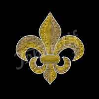 New Design Hot Fix Rhinestone Transfers Fleur De Lis Iron On Motif