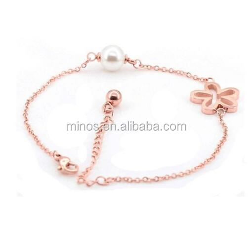 14K rose gold plated steel Clover five leaves and flowers of pearl Bracelets